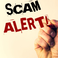 graphic that reads scam alert